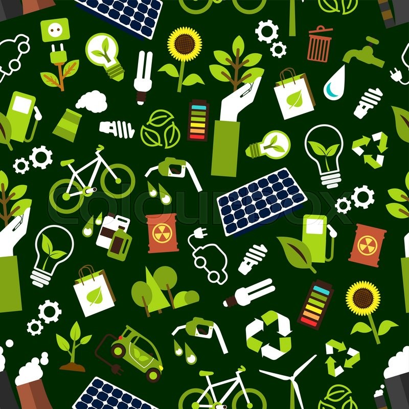 Eco friendly and saving energy seamless pattern background ...