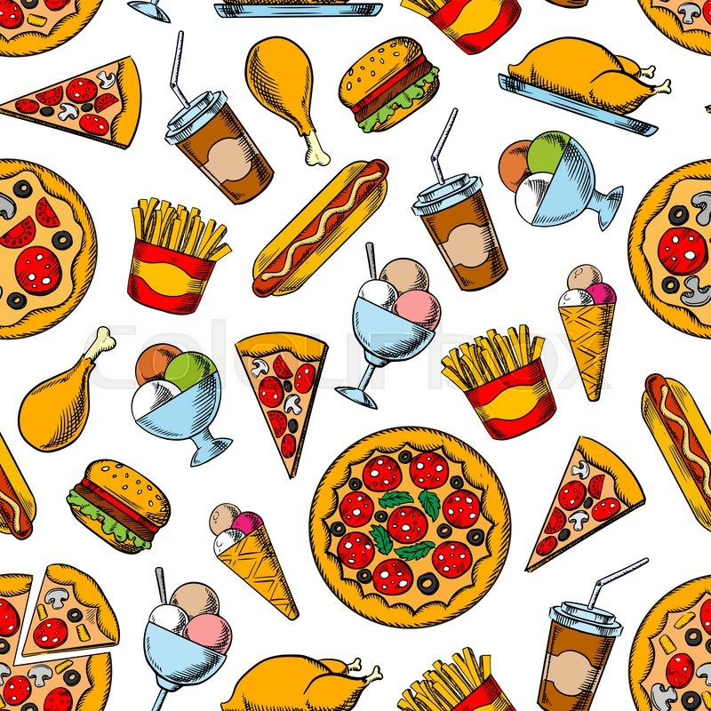 seamless retro sketches of fast food dishes pattern background with hamburgers hot dogs and. Black Bedroom Furniture Sets. Home Design Ideas