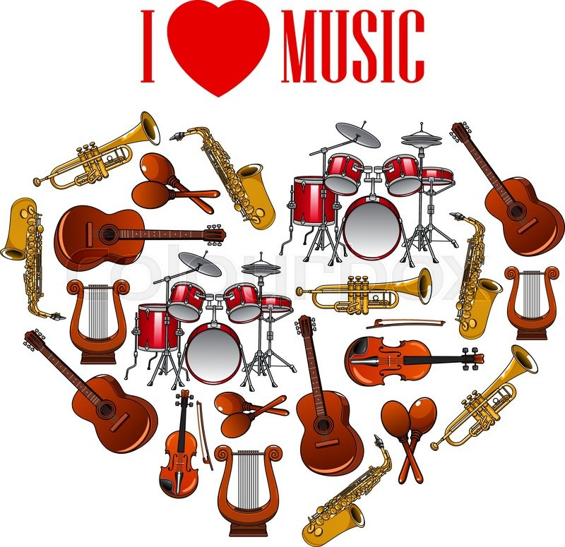 Classic Musical Instruments Shaped In A Heart Symbol For I Love