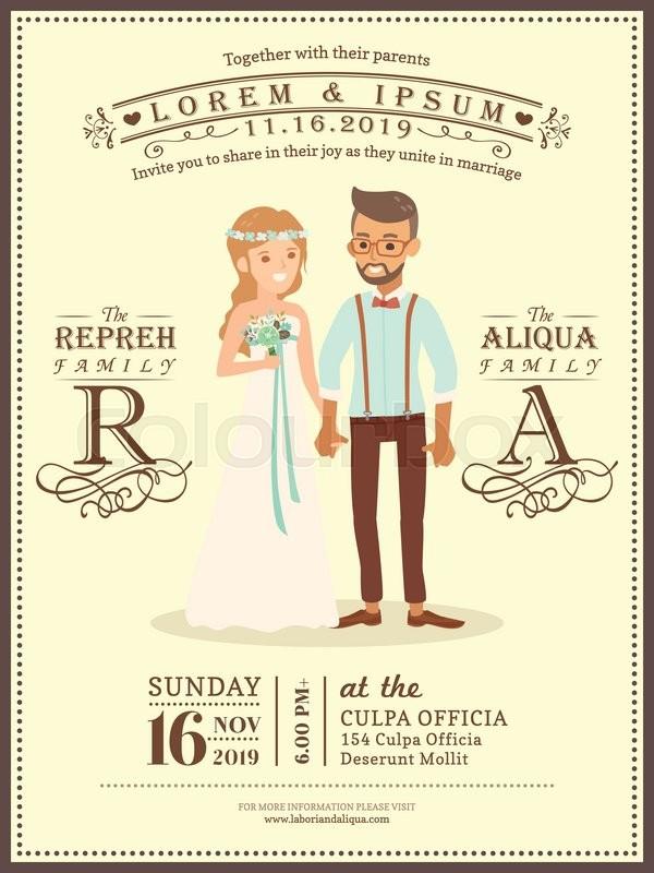 Cute wedding couple groom and bride cartoon wedding invitation card ...