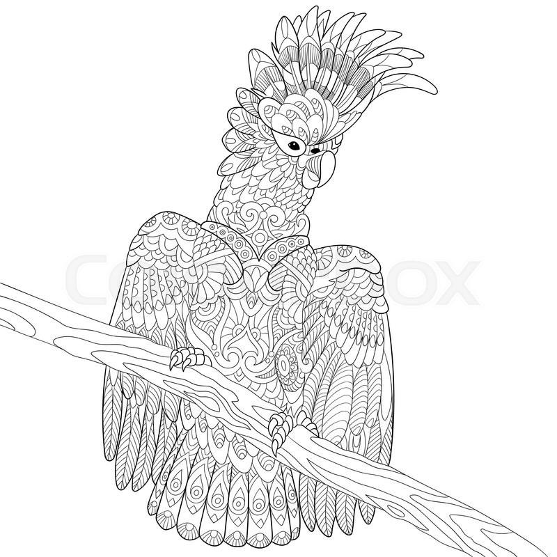 Zentangle stylized cartoon cockatoo