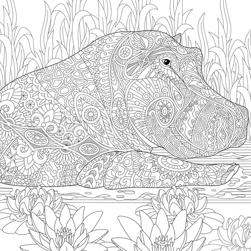 Zentangle Stylized Cartoon Hippopotamus Hippo Swimming Among Lotus Flowers And Pond Algae Hand Drawn Sketch For Adult Antistress Coloring Book Page With