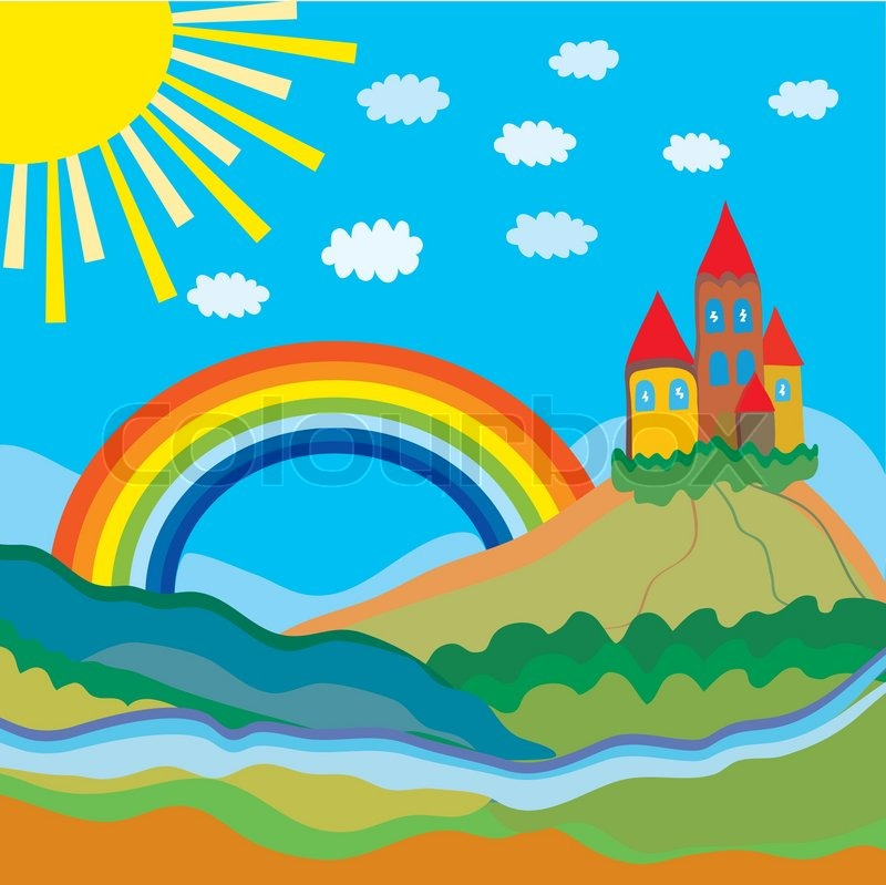 Stock vector of 'Funny cartoon background with castle and rainbow'