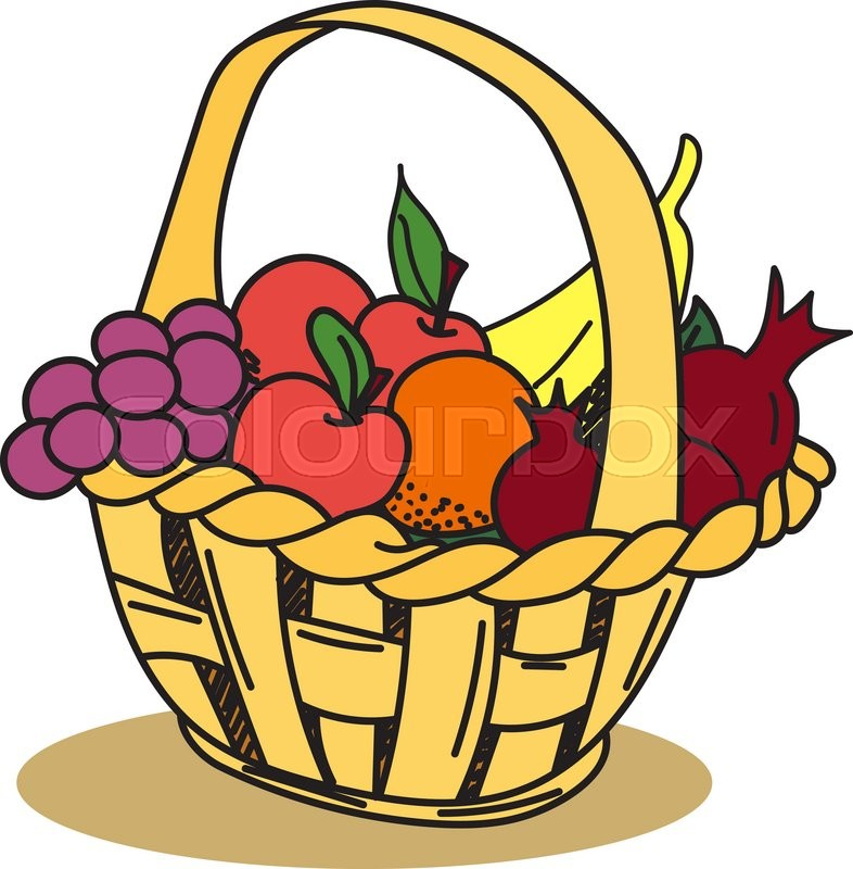 fruit basket apple grape banana pomegranate hand drawn doodle rh colourbox com fruit basket clipart free fruit basket clipart outline