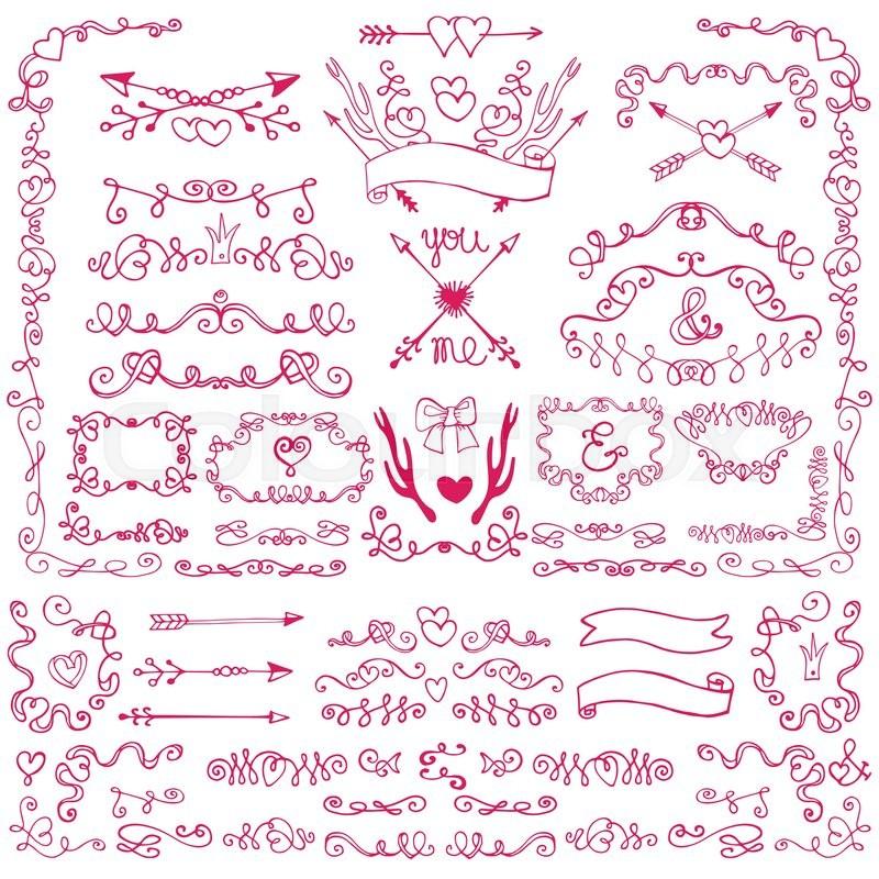 Doodles swirling heart decor.Borders,arrows,frames,ribbons,love ...