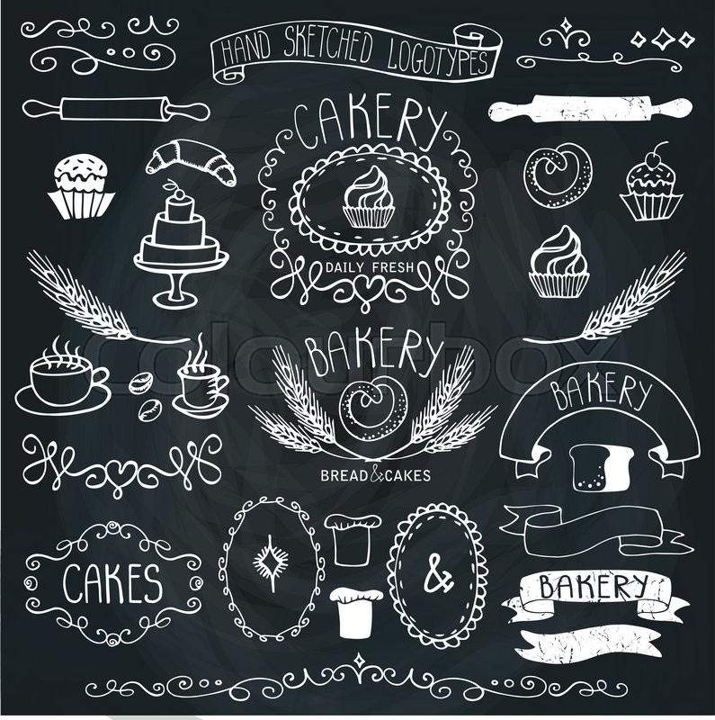 Bread And Loaf Wheat Ear Cake Iconsborder Ribbon Easy To Make LogoOutline Chalkboard Vector