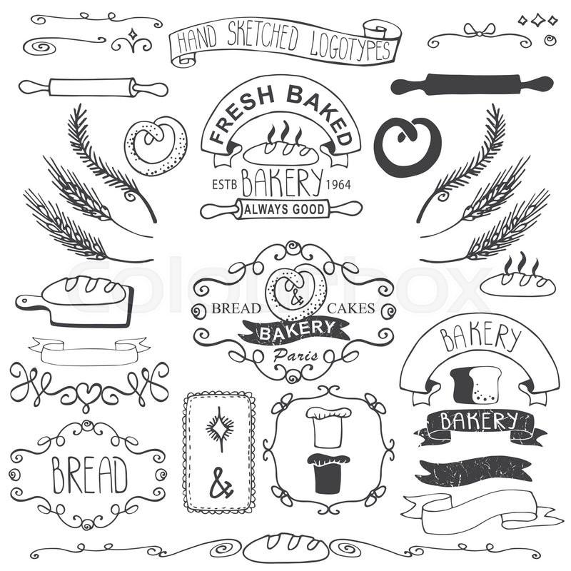 Vintage Retro Bakery BadgesLabelslogosColored Hand Sketched Doodles And Design ElementsBread Loaf Wheat Ear Cake Iconsborderribbon