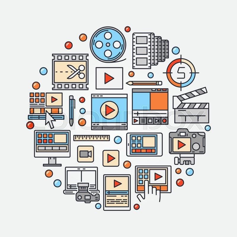 Video production concept illustration. Vector video edit ...