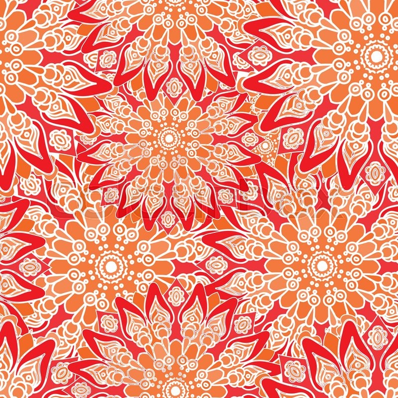 Seamless Colorful Pattern Oriental Style Fabric Or
