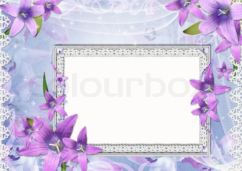 Stock image of 'Beautiful frame with purple flowers'