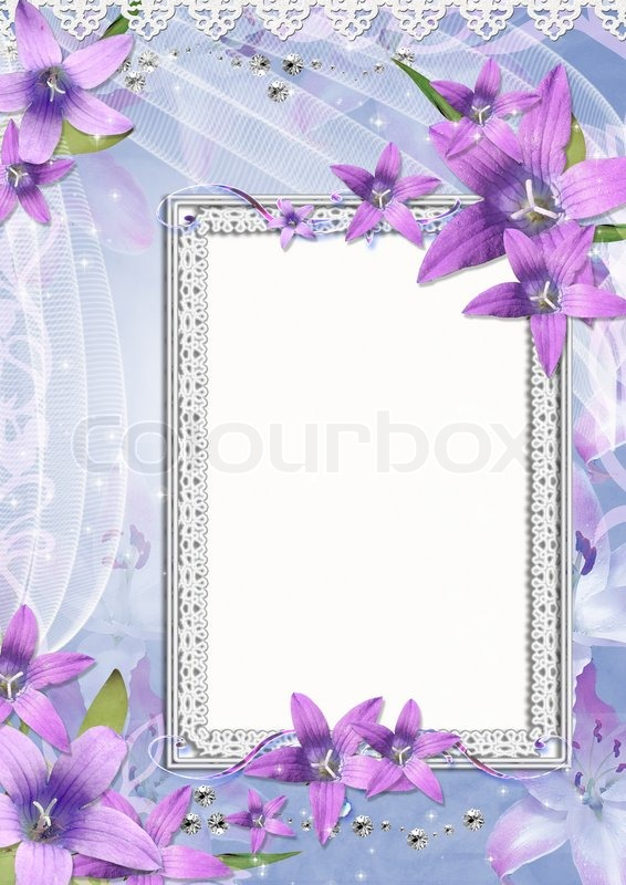 Beautiful frame with purple flowers | Stock Photo | Colourbox