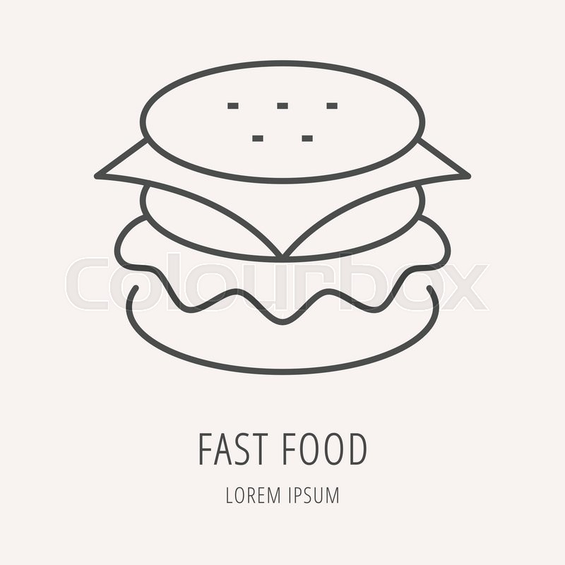 logo or label meal line style logotype template with hamburger