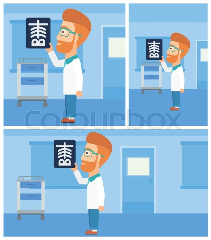 Hipster doctor with the beard looking at a skeleton radiograph in the medical office. Vector flat design Illustration. Square, horizontal, vertical layouts, vector