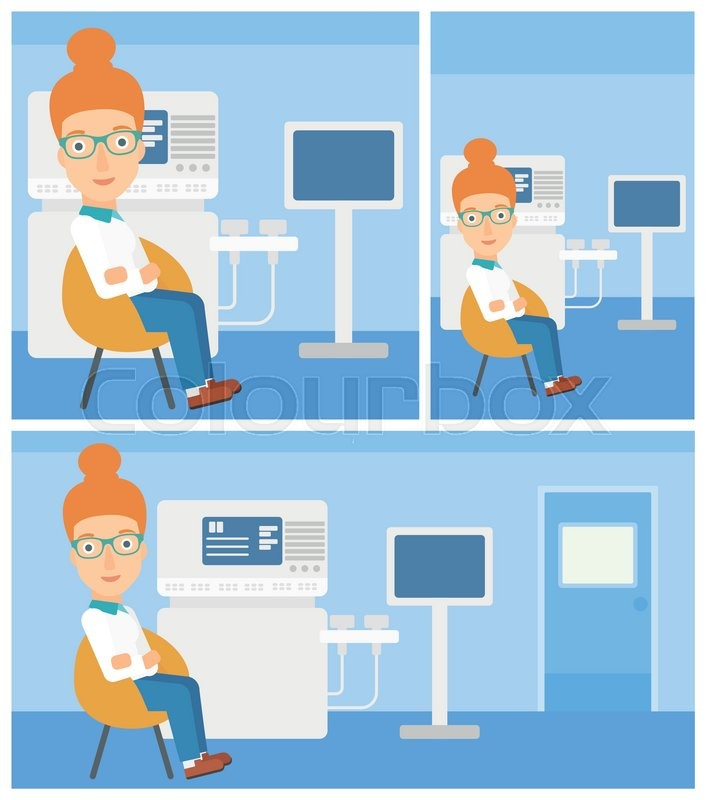 Female ultrasound doctor sitting with arms crossed near modern ultrasound equipment at medical office. Vector flat design Illustration. Square, horizontal, vertical layouts, vector