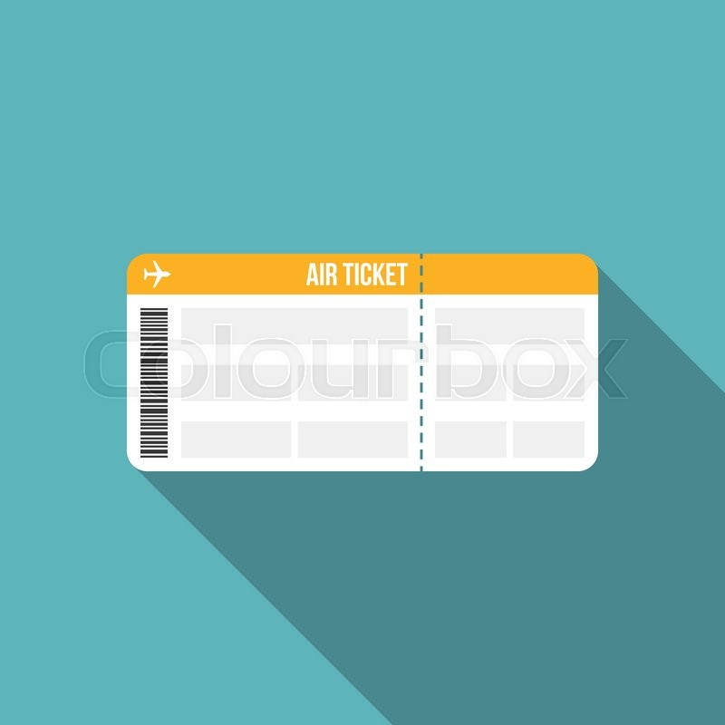 Air Ticket Boarding Pass Icon Flat Design Vector