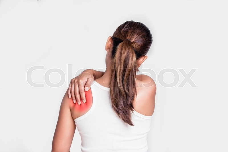 Asian woman with shoulder pain, stock photo