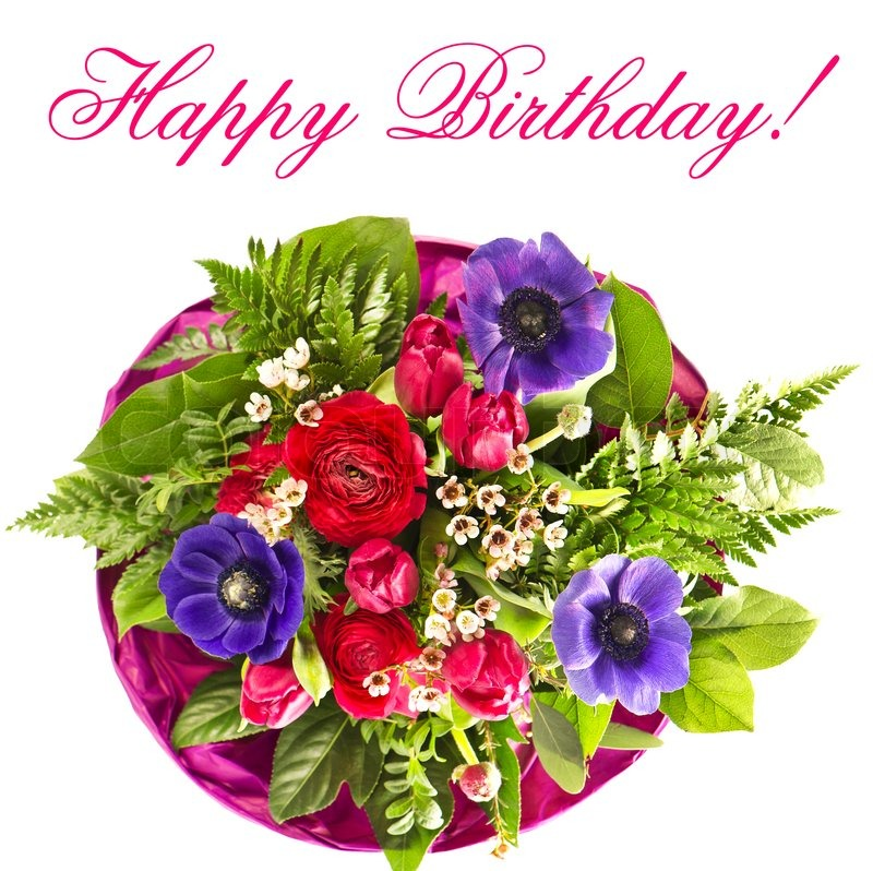 Colorful flowers bouquet. happy birthday. card concept | Stock Photo ...