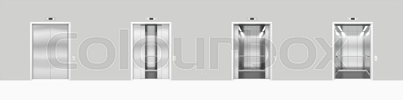 Stock image of 'Set open and closed chrome metal office building elevator doors realistic 3d illustration.'