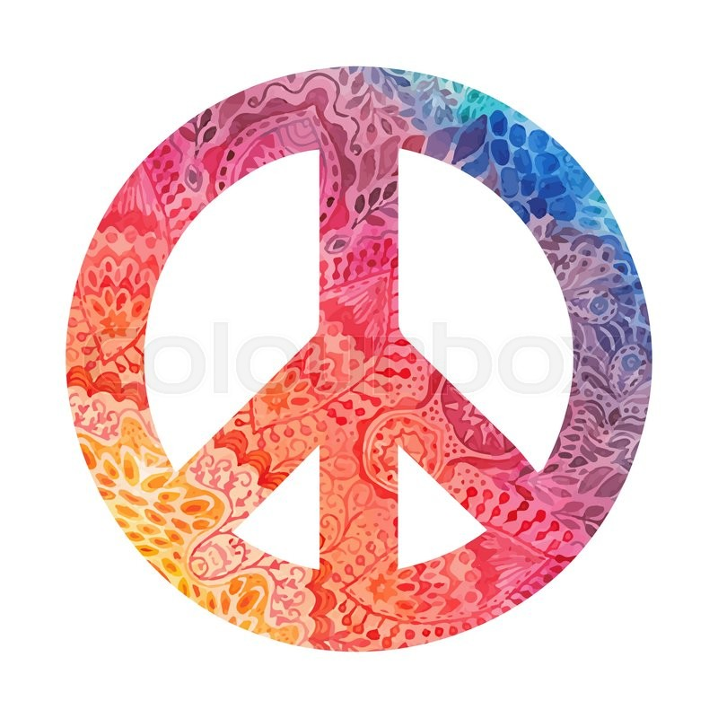 Watercolor Peace Symbol Made Of Painted Zentangles Pacifism Sign
