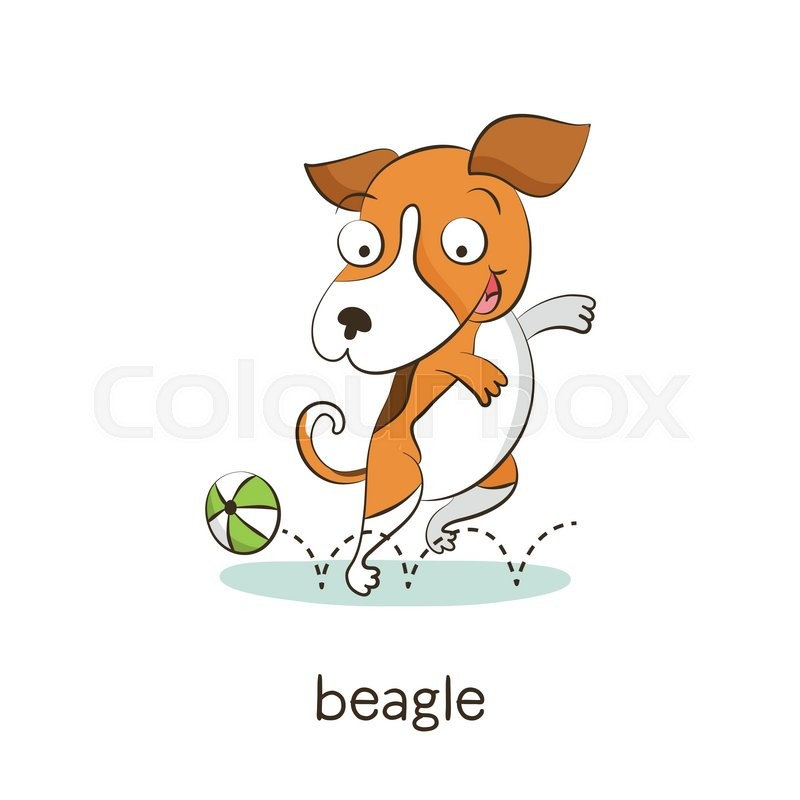 cute vector cartoon dog character playing with ball isolated on white with breed caption stock vector colourbox