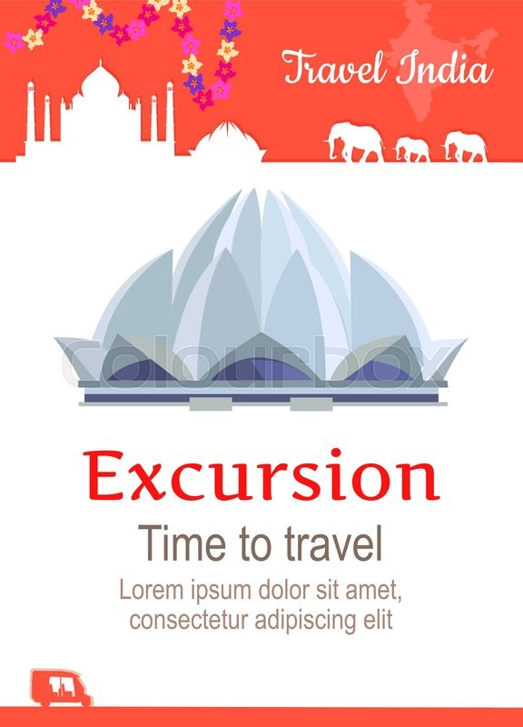 Travel India conceptual poster in flat style design. Summer vacation in exotic countries illustration. Journey to India vector template. Excursions to famous historical attractions concept, vector