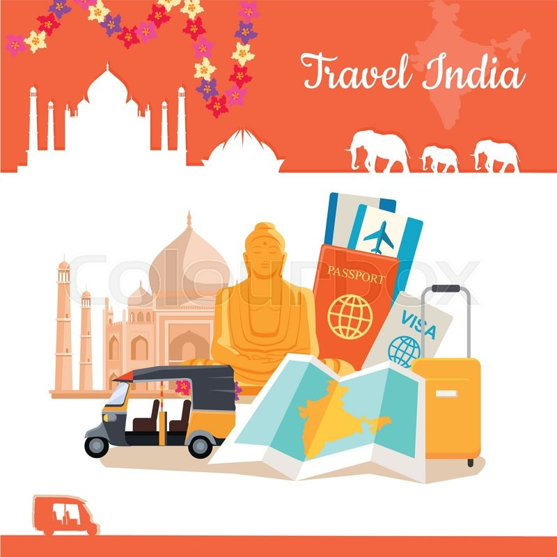 Travel India poster in flat style design. Discovering India Vector Design Template. Vacation journey to Indian attractive concept. Architecture, relics, transport, documents, suitcase illustration, vector