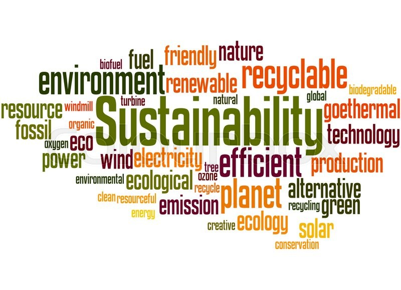 Sustainability Word Cloud Concept On White Background