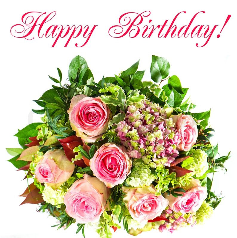 Colorful flowers bouquet. happy birthday! card concept | Stock Photo ...