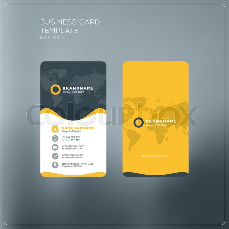 Vertical business card print template personal business card with vertical business card print template personal business card with company logo black and yellow colors clean flat design vector illustration flashek Gallery