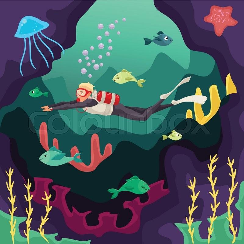 Scuba Diver Swimming Under Water Cartoon Vector