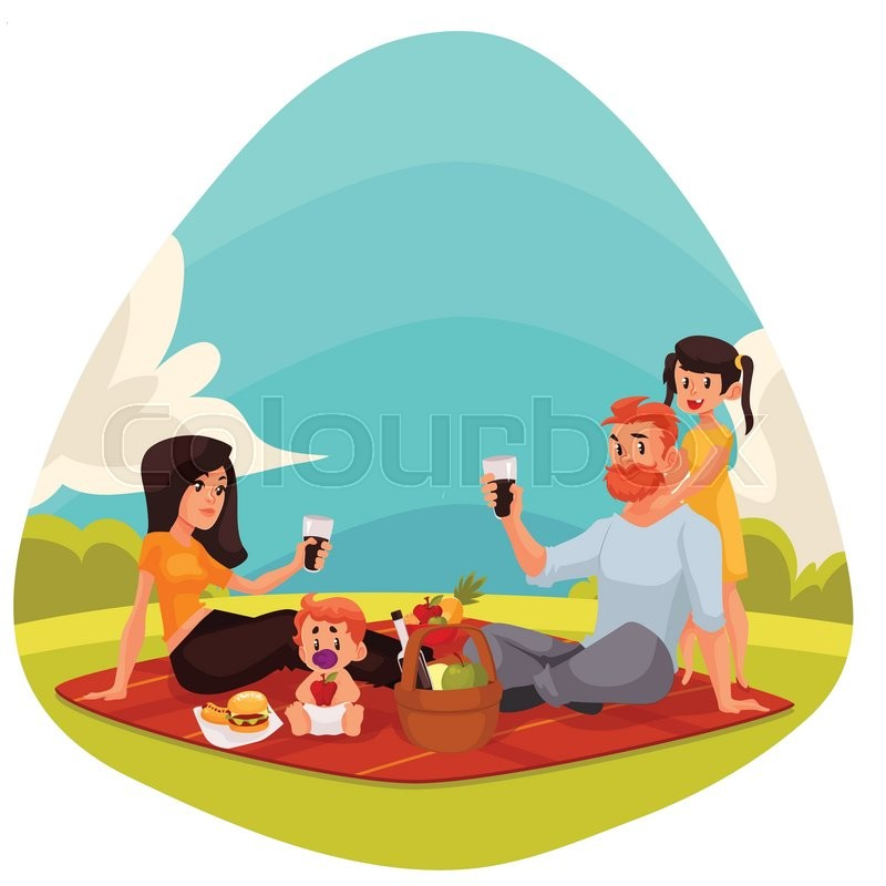 Happy family countryside picnic cartoon style vector illustration. Father, mother, daughter and son having picnic together outdoors eating and drinking, vector