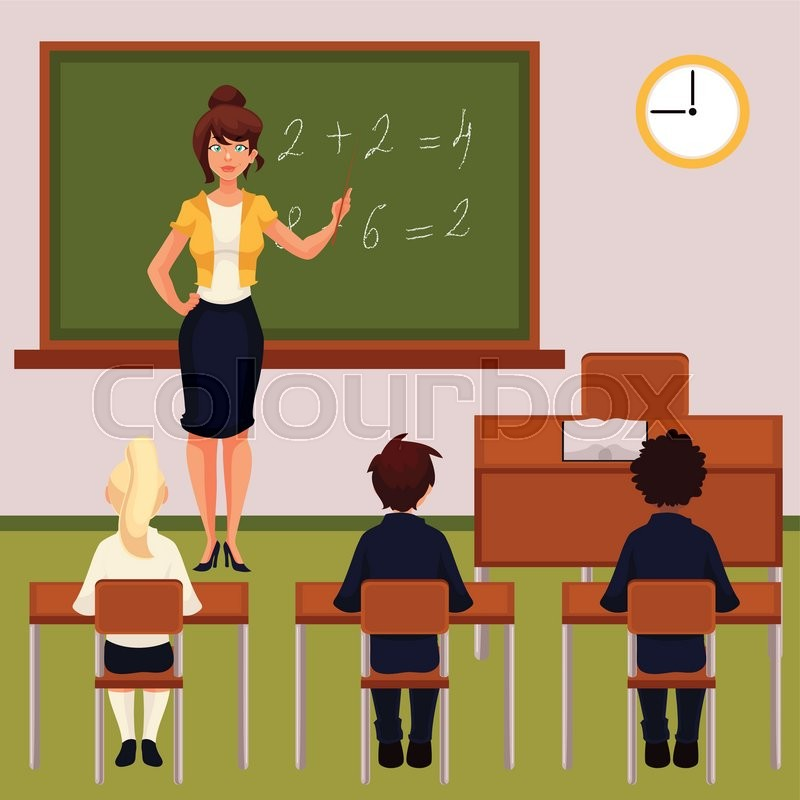 Modern Classroom Vector : Teacher and pupils in classroom cartoon vector