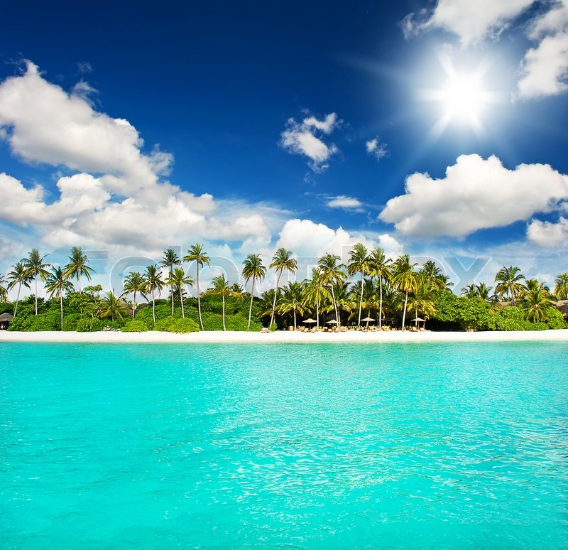 Beach Island: Landscape Of Tropical Island Beach With Perfect Sky