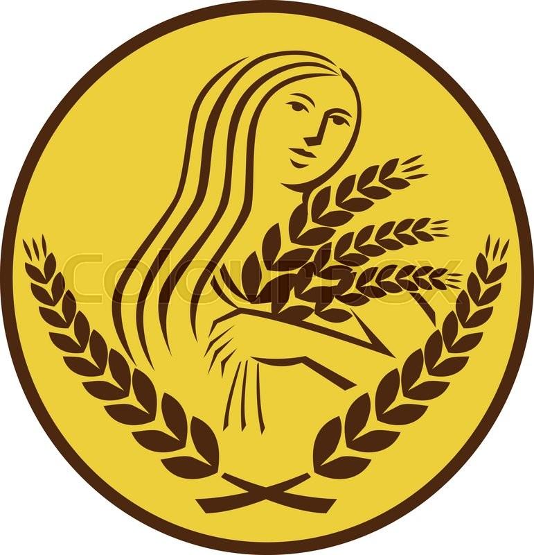 Illustration Showing Demeter Greek Goddess Of The Harvest And
