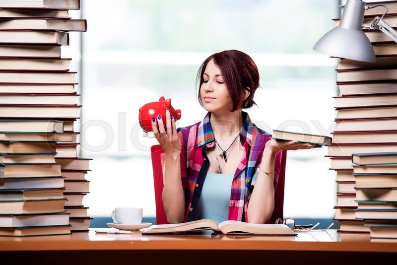 Concept of expensive textbooks with female student, stock photo