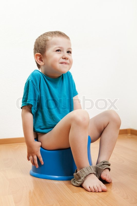 Little Smiling Child Boy Urinating Toilet Potty Pan