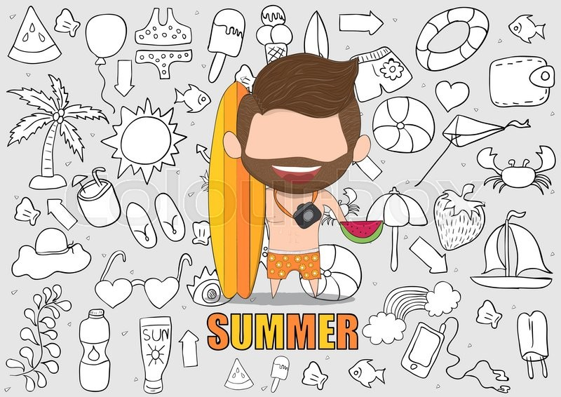 Vector Illustration Of A Happy Face Man With Beard Summer Symbols And Objects Concept Balancing Life Holiday At Sea Drawing By Hand