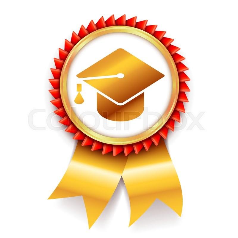 education award medal with graduation cap or mortar board