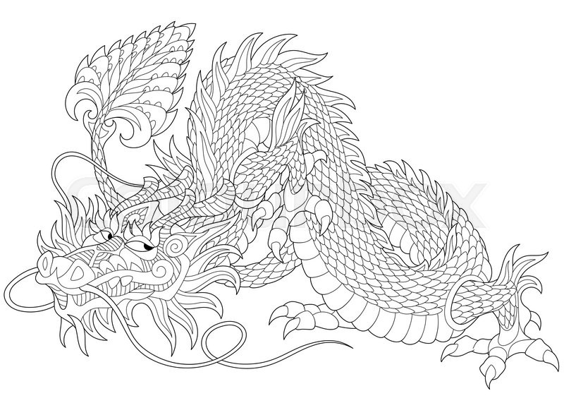 Freehand Sketch For Adult Anti Stress Coloring Book Page With Doodle And Zentangle Elements