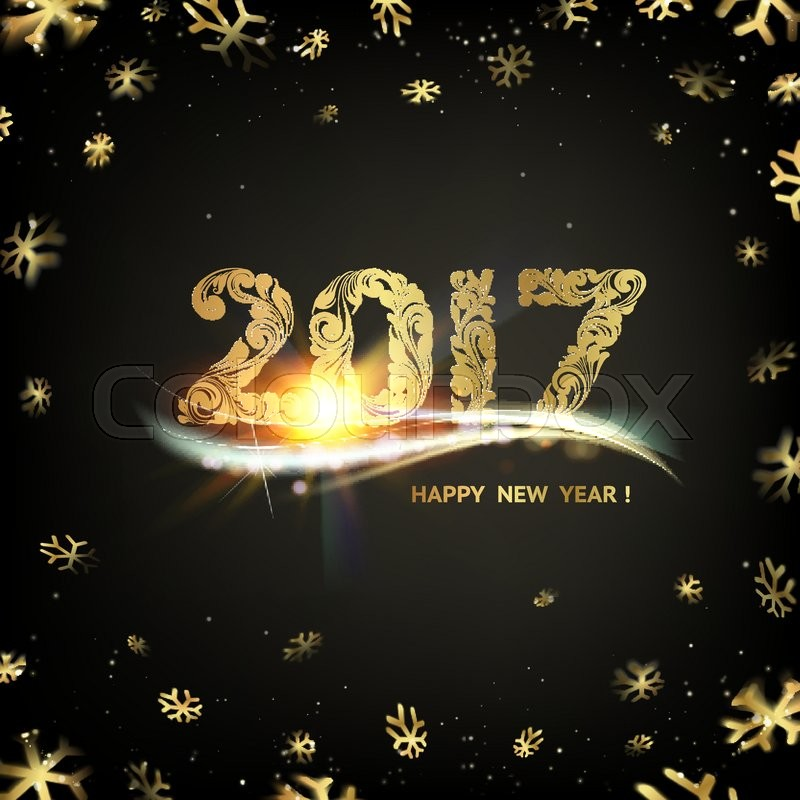 happy new year card gold template over black background with golden sparks happy new year 2017 black space abstraction fallen snow and sun rays in the