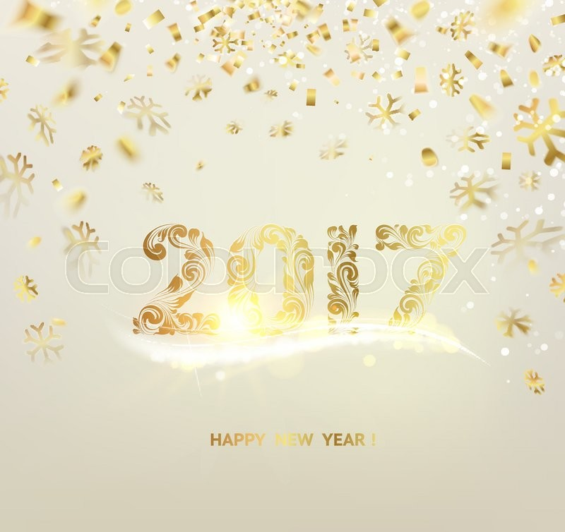 merry christmas card over gray background with golden sparks happy new year 2017 holiday card template for your design vector illustration