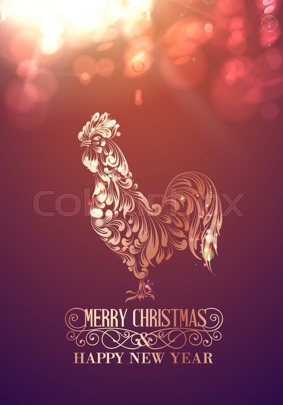 Fire rooster symbol of the new year by chinese calendar christmas fire rooster symbol of the new year by chinese calendar christmas card icon of the bird on the color bokeh background vector illustration m4hsunfo