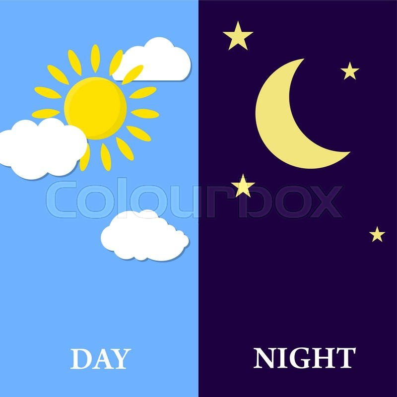 day night concept sun and moon day stock vector colourbox. Black Bedroom Furniture Sets. Home Design Ideas