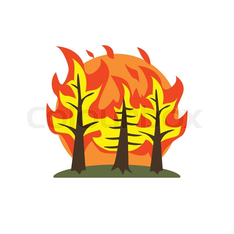 how to draw a forest fire