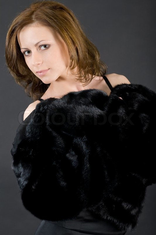 The Young Beautiful Girl In A Black Mink Fur Coat  Stock -6693