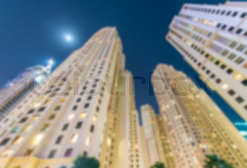 Blurred skyline of Dubai Marina, UAE, stock photo