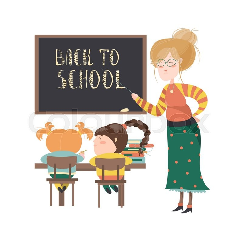 Teacher by blackboard with pupils in ...   Stock Vector ...