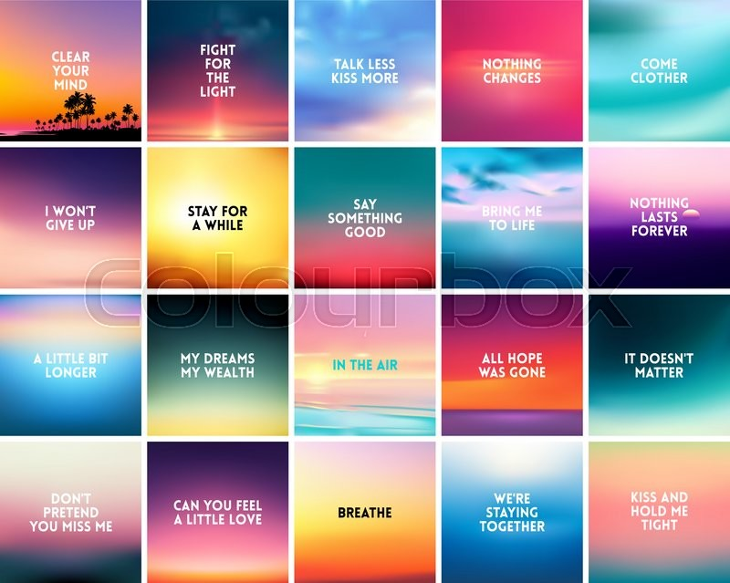 Big Set Of 20 Square Blurred Nature Stock Vector Colourbox