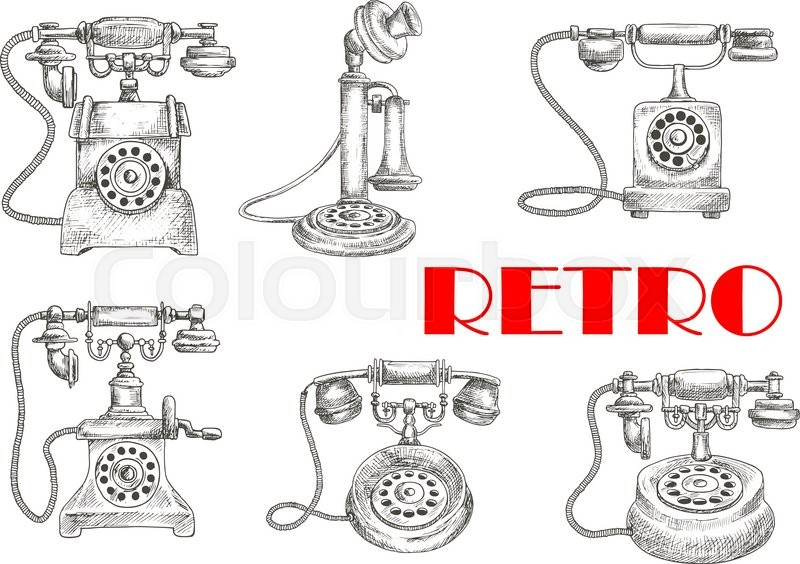 sketch of retro or vintage telephones with rotary dial and