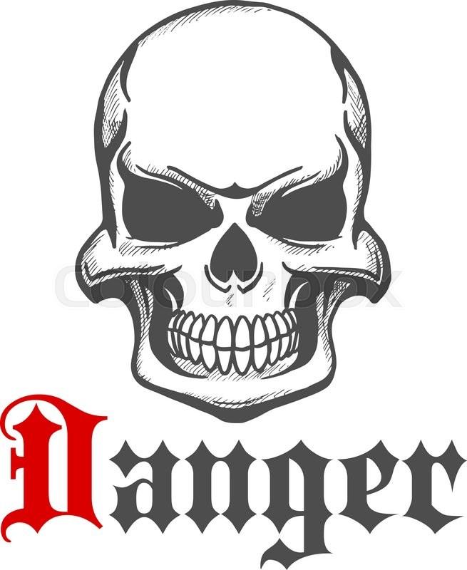 Sketch of skull with grin or grim smile. Danger and hazard skeleton ...
